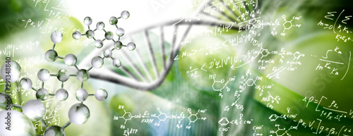 Photo abstract image of dna chain on blurred background