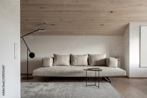 Wallpaper Mural Light modern interior with sloping wooden ceiling