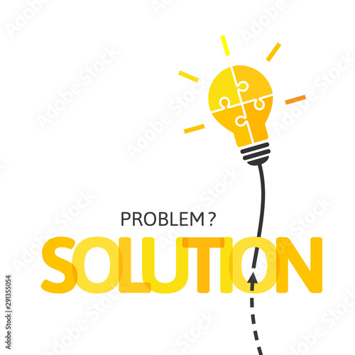 Bright shining light bulb made of jigsaw puzzle pieces as idea and solution concept on white background
