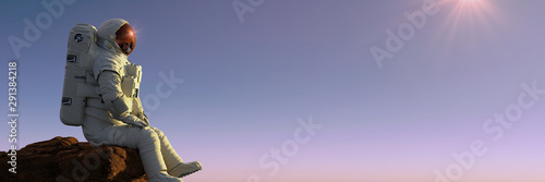 astronaut sitting on a cliff enjoying the view over an alien world Fototapete