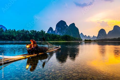 Stampa su Tela The Beautiful Landscape of Lijiang River in Yangshuo, Guilin