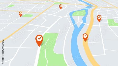 Obraz na plátně City map with pins