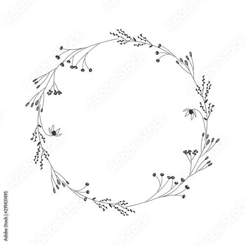 Stampa su Tela Autumn botanical oval frame wreath on white background