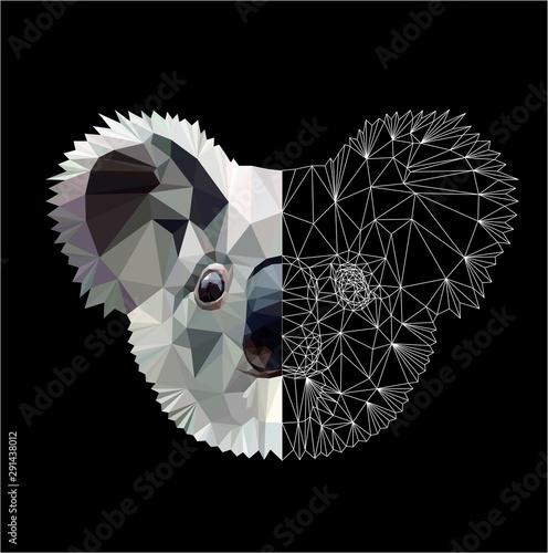 Fototapeta Low poly triangular koala head on black background, vector illustration isolated