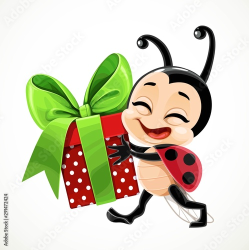 Fotografia Cute cartoon little ladybug carries a gift in red box and with a green bow on wh