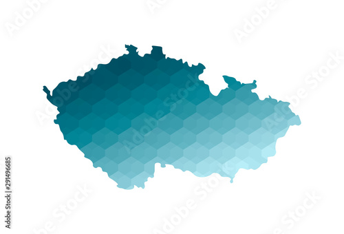 Photo Vector isolated illustration icon with simplified blue silhouette of Czech Republic map