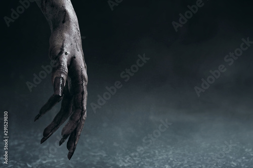 Canvas Print Bloody zombie hands, halooween theme