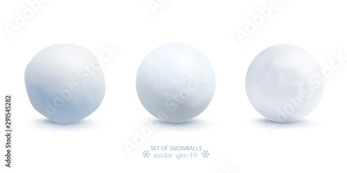 Wallpaper Mural Set of snowballs isolated on white background