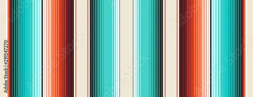 Fotografie, Obraz Turquoise, Orange & Navajo White Mexican Blanket Serape Stripes Seamless Vector Pattern