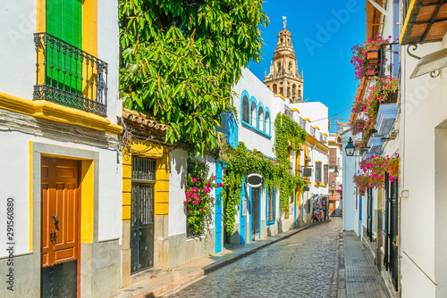 Wallpaper Mural Scenic sight in the picturesque Cordoba jewish quarter with the bell tower of the Mosque Cathedral