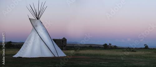 Canvas Print White High Plains Tee Pee At Sunset
