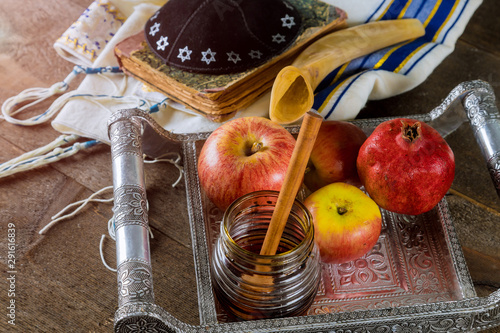 Fototapeta Honey, apple and pomegranate traditional holiday Yom Kippur and Rosh Hashanah je