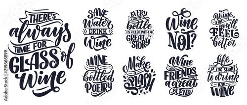 Fotografia, Obraz Set of wine lettering compositions in modern style