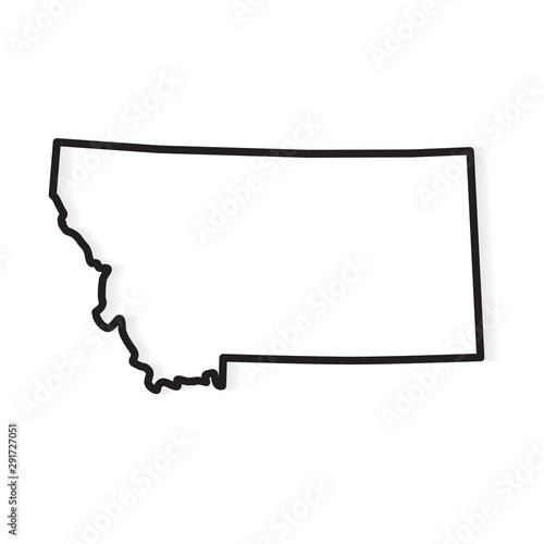 Fotografia black outline of Montana map- vector illustration