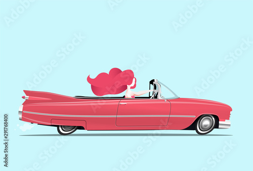 Redhead girl is driving a classic red cabriolet car. Woman driving. Cartoon styled vector illustration.