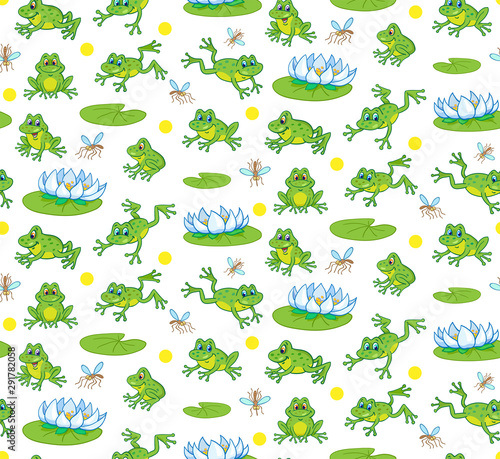 Pattern with funny little frogs jumping and sitting among lilies Fototapeta