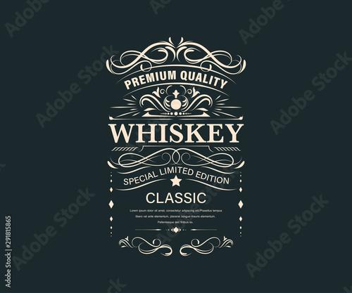 Canvas Print Vintage premium whiskey label banner badges set
