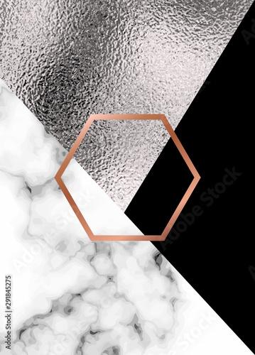 Naklejka na szafę Abstrakcyjne geometryczne tło z marmurową teksturą i miedzianym sześciokątem