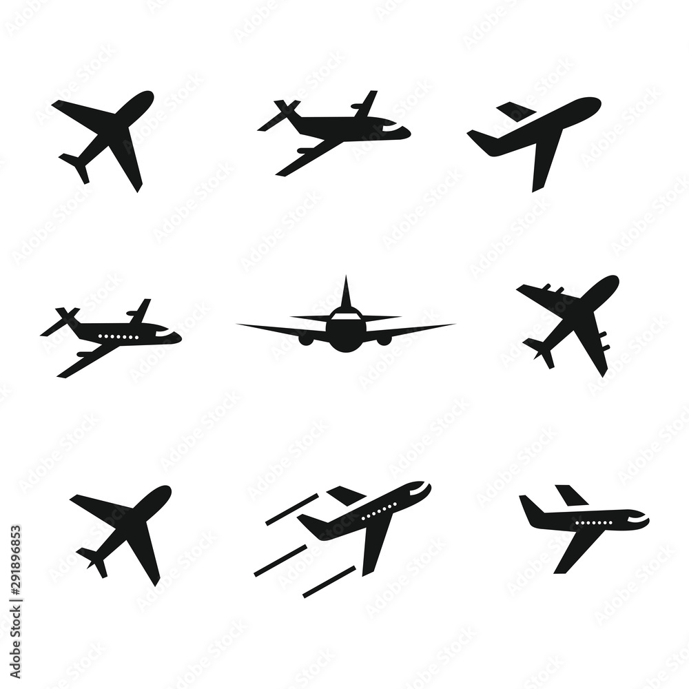 samolotowy ikona set, symbolu wektoru ilustracja <span>plik: #291896853 | autor: arief</span>