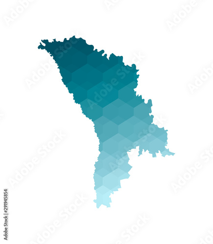 Photo Vector isolated illustration icon with simplified blue silhouette of Moldova map
