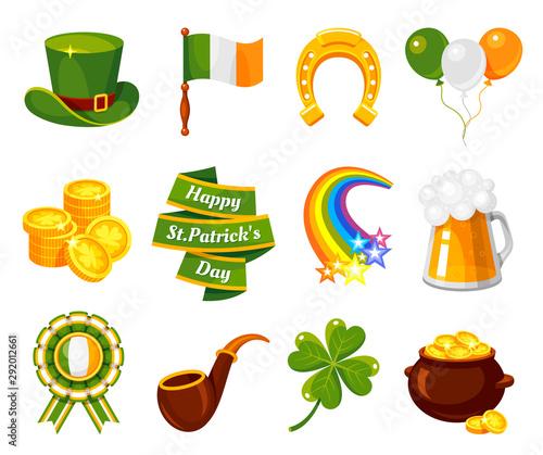 Obraz na płótnie Saint Patricks Day flat vector illustration set