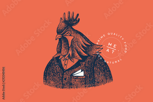 Graphically hand drawn rooster in a suit on a red background Fototapete