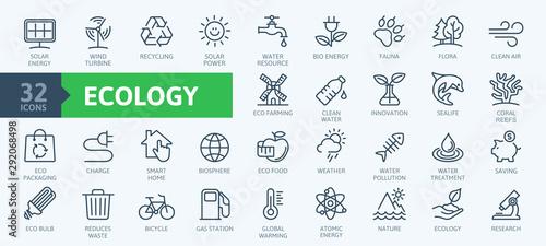 Photo Ecology minimal thin line web icon set