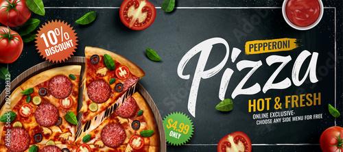 Obraz na plátně Pepperoni pizza banner ads