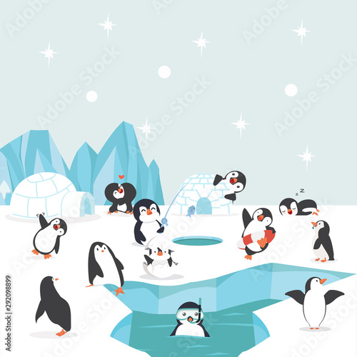 Canvas Print group of penguins north pole Arctic  in the ocean