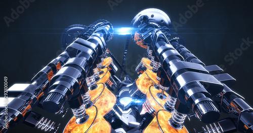 3D Powerful V8 Engine With Lens Flares Fototapet