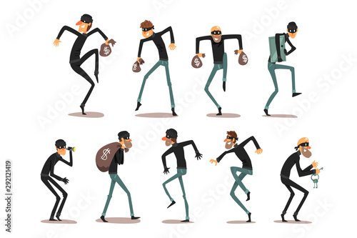 Fotografiet Male thief in mask set, robber cartoon characters committing crimes vector Illus