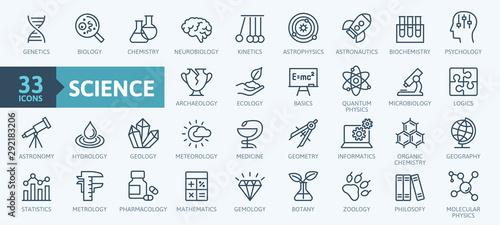 Photo Science, scientific activity elements - minimal thin line web icon set