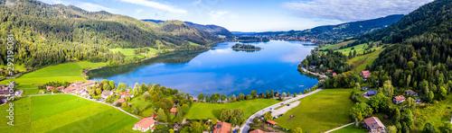 Obraz na plátne Schliersee Lake Panorama Aerial Shot. Bavaria, Germany
