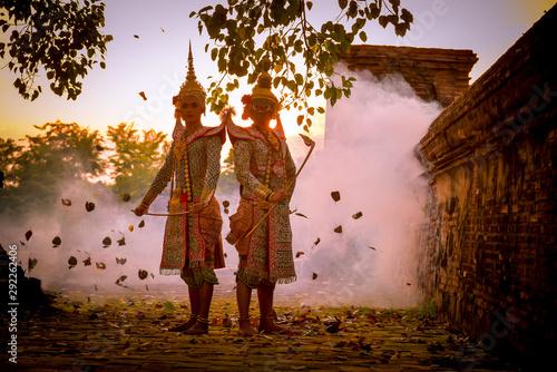 Khon is art culture Thailand Dancing in masked Tos-sa-kan and Hanuman are fighting in literature Ramayana Fototapeta