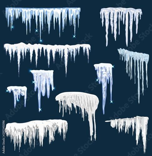 Obraz na płótnie Realistic snow icicles