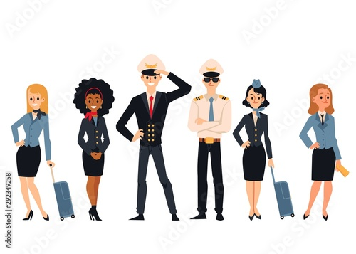 Photo Flight aircraft crew or staff characters flat vector illustrations set isolated