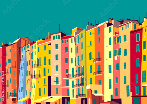 Canvas Print Traditional itallian houses in small village in Liguria, Italy.
