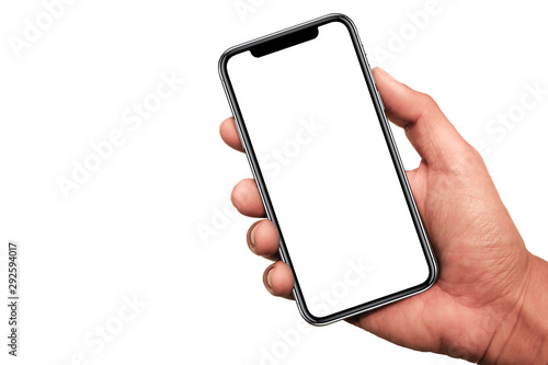 Photo Hand holding the black smartphone iphone with blank screen and modern frameless