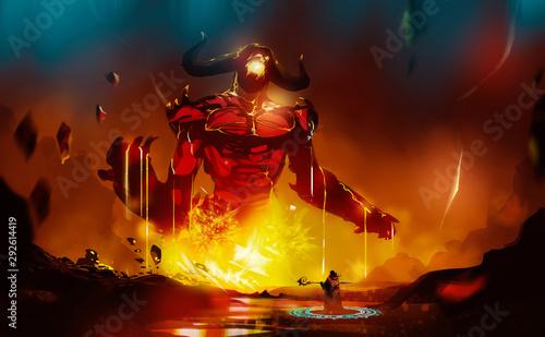 Valokuva Digital illustration painting design style a wizard summoning big monster from lava