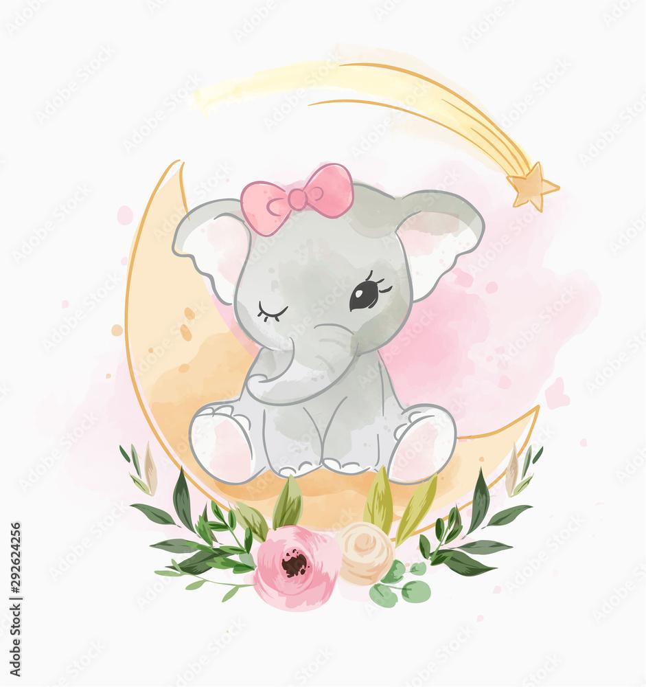 baby elephant sitting on the moon with flower <span>plik: #292624256 | autor: mykrit</span>