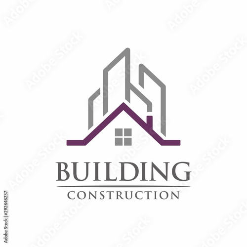 Real estate commercial and residential building logo design template vector illu Poster Mural XXL