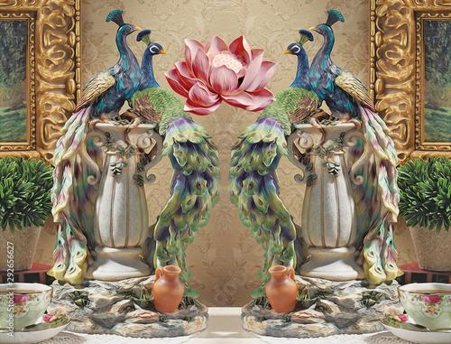 3d malowidło ścienne ilustracyjny tło z złotą biżuterią i kwiatami, okrąża prostą dekoracyjną drewnianą tapetę. paw, koń, motyl i jeleń