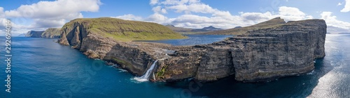 Fotografia Leitisvatn lake and Bosdalafossur waterfall on Vagar island aerial view, Faroe I