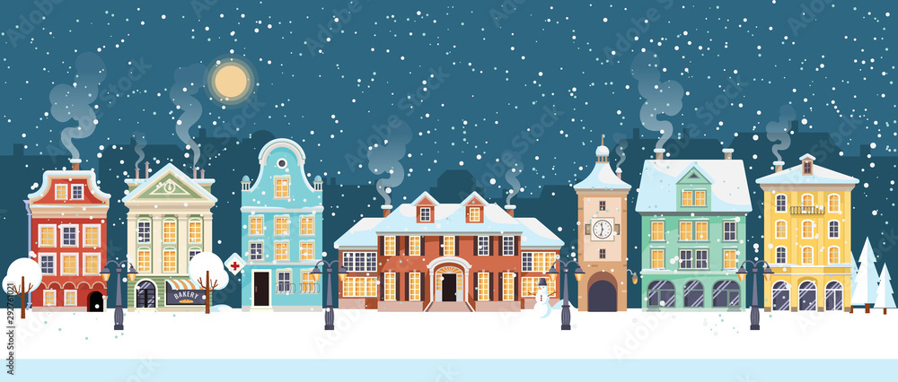Śnieżna noc Bożego Narodzenia w przytulnej panoramie miasta. Zimy wioski wakacje krajobraz, wektorowa ilustracja <span>plik: #292761021 | autor: MarySan</span>