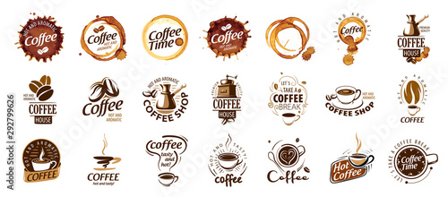 Photo Set of coffee logos. Vector illustration on white background