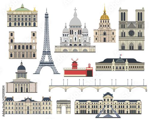 Photo Cartoon symbols and objects set of Paris