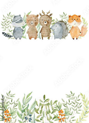 Wallpaper Mural Watercolor forest card.