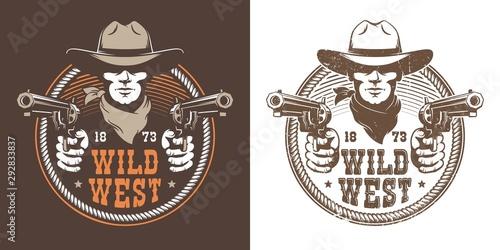 Murais de parede Cowboy with guns - wild west vintage logo