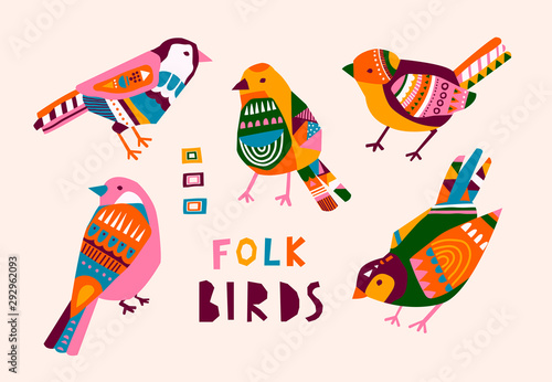 Fototapeta Various birds with different folk ornaments