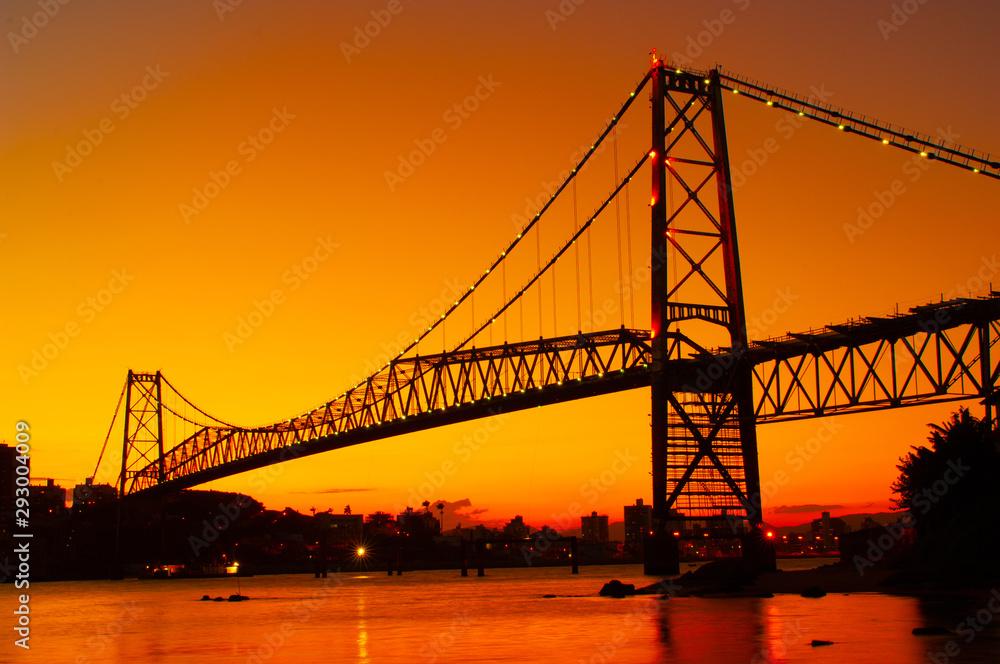 Hercilio Luz bridge in the sunset
